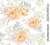 blush pink bouquets on the... | Shutterstock .eps vector #1024140511