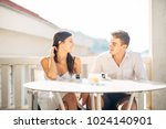 happy couple in love on a... | Shutterstock . vector #1024140901