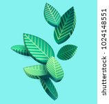 Composition of 3D stylized leaves  | Shutterstock vector #1024148551