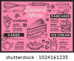 dessert restaurant menu. vector ... | Shutterstock .eps vector #1024161235