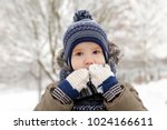 Little Boy Playing With Snow I...