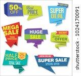 modern origami sale stickers... | Shutterstock .eps vector #1024170091