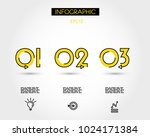 three yellow outline numbers...   Shutterstock .eps vector #1024171384