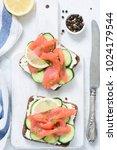 smoked salmon  cream cheese and ... | Shutterstock . vector #1024179544