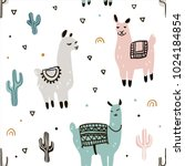 seamless pattern with lama and... | Shutterstock .eps vector #1024184854