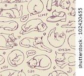 violet sleeping cats seamless... | Shutterstock .eps vector #102420655