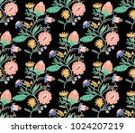embroidery colorful ethnic neck ... | Shutterstock . vector #1024207219