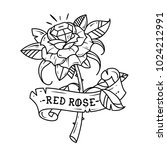 tattoo red rose with blue gem... | Shutterstock .eps vector #1024212991