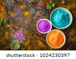 traditional indian holi colours ... | Shutterstock . vector #1024230397