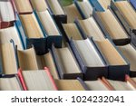 stack of books background. many ... | Shutterstock . vector #1024232041