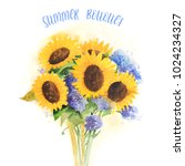 watrecolor summer bouquet with... | Shutterstock . vector #1024234327