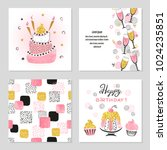 happy birthday cards set in... | Shutterstock .eps vector #1024235851