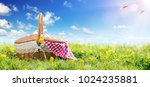 picnic   basket on meadow  | Shutterstock . vector #1024235881