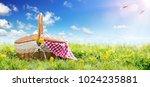 picnic   basket on meadow    Shutterstock . vector #1024235881