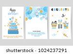happy birthday cards set in... | Shutterstock .eps vector #1024237291