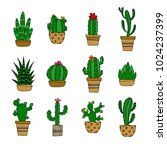 decorative cactuses with... | Shutterstock .eps vector #1024237399