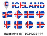 iceland flag vector set.... | Shutterstock .eps vector #1024239499