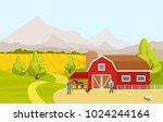 vector illustration of mountain ... | Shutterstock .eps vector #1024244164