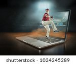 caucassian baseball player in...   Shutterstock . vector #1024245289