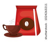 coffee bag with cup | Shutterstock .eps vector #1024263211