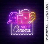 cinema night neon sign  bright... | Shutterstock .eps vector #1024264201