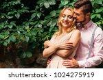 a pretty girlfriend  closed her ... | Shutterstock . vector #1024275919