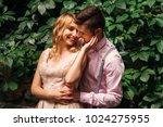 the boyfriend hugs his... | Shutterstock . vector #1024275955