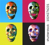 low poly modern art skull in... | Shutterstock .eps vector #1024276231