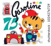 cute cartoon tiger wearing red... | Shutterstock .eps vector #1024276729