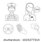 a taxi driver with a microphone ... | Shutterstock .eps vector #1024277314