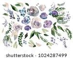 beautiful watercolor set with... | Shutterstock . vector #1024287499