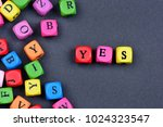 yes word on black background... | Shutterstock . vector #1024323547