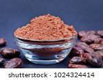 cacao powder in a transparent... | Shutterstock . vector #1024324414