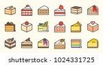 set of cake  tiramisu  cheese... | Shutterstock .eps vector #1024331725