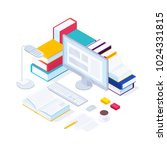 e learning isometric concept.... | Shutterstock .eps vector #1024331815