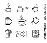 set of icons with coffee and... | Shutterstock .eps vector #1024337011