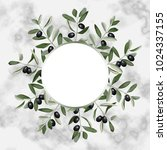 template with olives brunches... | Shutterstock .eps vector #1024337155