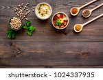 cook chickpeas. make hummus....   Shutterstock . vector #1024337935