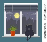 silhouettes of two cats sitting ...   Shutterstock .eps vector #1024338214