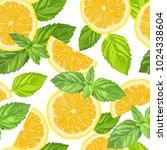 lemon slices and mint leaves.... | Shutterstock .eps vector #1024338604