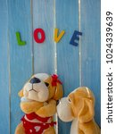 cute couple of soft toys dogs ... | Shutterstock . vector #1024339639