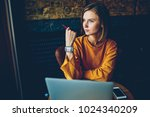 charming thoughtful hipster... | Shutterstock . vector #1024340209
