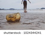 tourists with plastic garbage... | Shutterstock . vector #1024344241