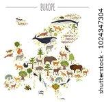 flat european flora and fauna... | Shutterstock .eps vector #1024347304