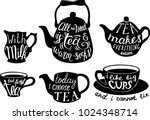 vector tea set with cute tea... | Shutterstock .eps vector #1024348714