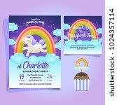 unicorn  little pony theme... | Shutterstock .eps vector #1024357114