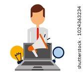 businessman laptop megaphone... | Shutterstock .eps vector #1024363234