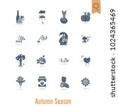 set of flat autumn icons.... | Shutterstock .eps vector #1024365469