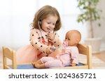 cute child in kindergarten. kid ... | Shutterstock . vector #1024365721