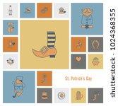 saint patricks day icon set.... | Shutterstock .eps vector #1024368355